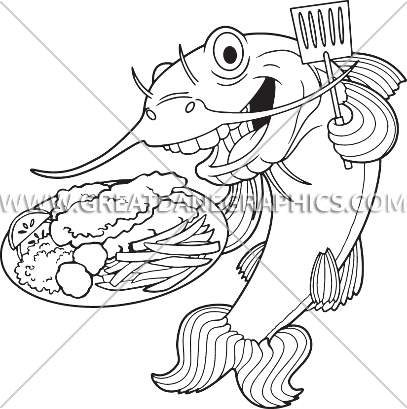 Fried fish clipart black and white png free download Fish Fry Catfish | Production Ready Artwork for T-Shirt Printing png free download