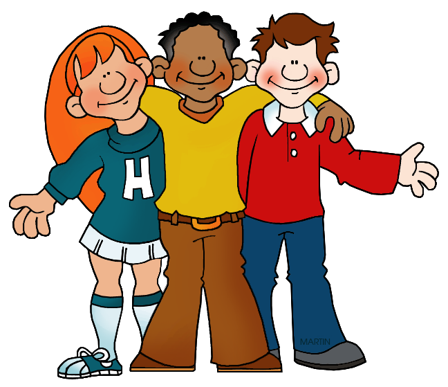 Friends at school clipart clipart royalty free Family and Friends Clip Art by Phillip Martin, Three Students clipart royalty free