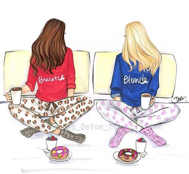 Friends hanging out clipart blond and black stock What are you? #a i am both ...i have half brown and half blonde ... stock