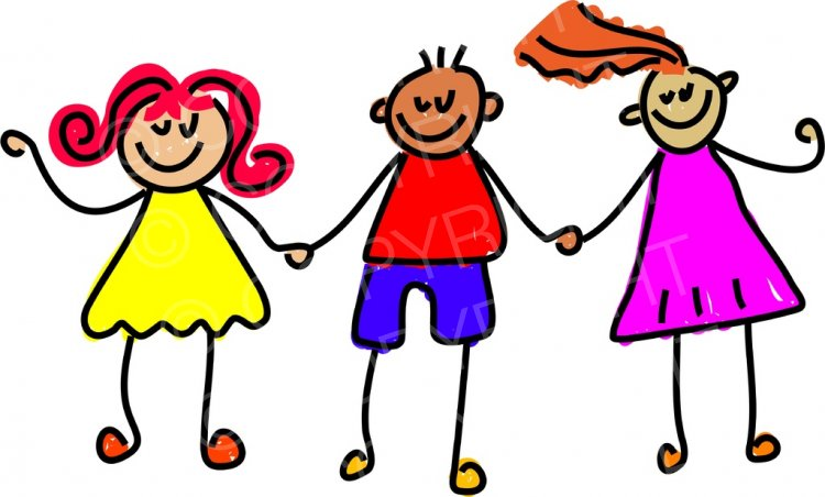 Happy friends clipart vector freeuse Toddler Art Happy Friends Holding Hands Prawny Clipart – Prawny ... vector freeuse