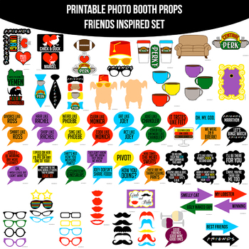 Friends tv show clipart image freeuse download Friends TV Show Inspired Printable Photo Booth Prop Set image freeuse download