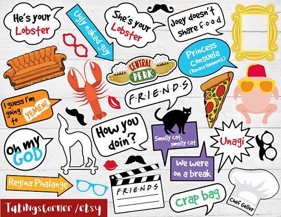 Friends tv show clipart clip art free Friends Photo Booth - Friends Birthday - Friends photo props ... clip art free
