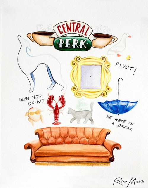Friends tv show clipart clip art freeuse Friends TV Show Watercolor Illustration by RachaelMichelleArt ... clip art freeuse