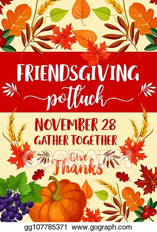 Friendsgiving clipart banner royalty free download Vector Clipart - Friendsgiving potluck and thanksgiving symbols ... banner royalty free download