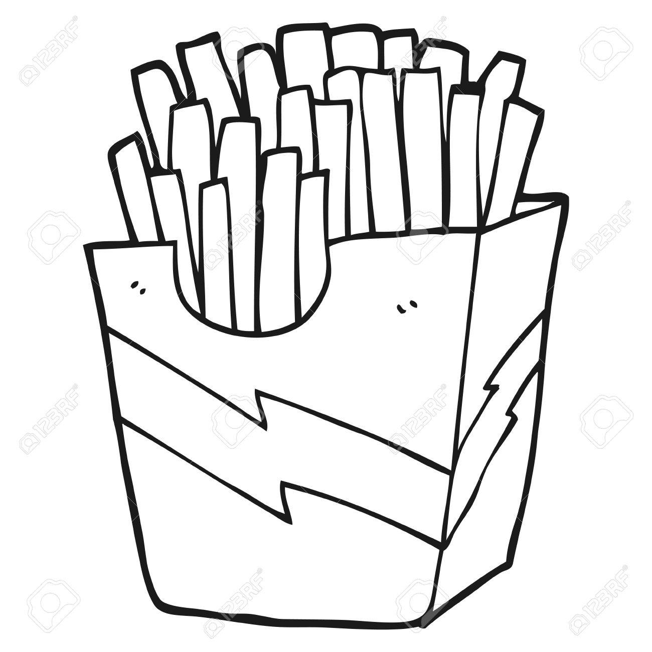 Fries black and white clipart banner black and white stock Black and white cartoon french fries » Clipart Station banner black and white stock