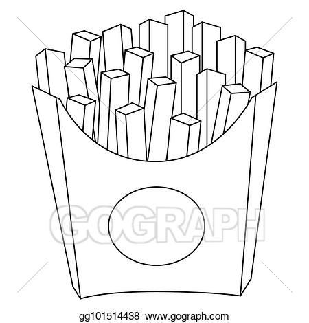 Fries black and white clipart freeuse download Clip Art Vector - Black and white french fries chips fast food icon ... freeuse download