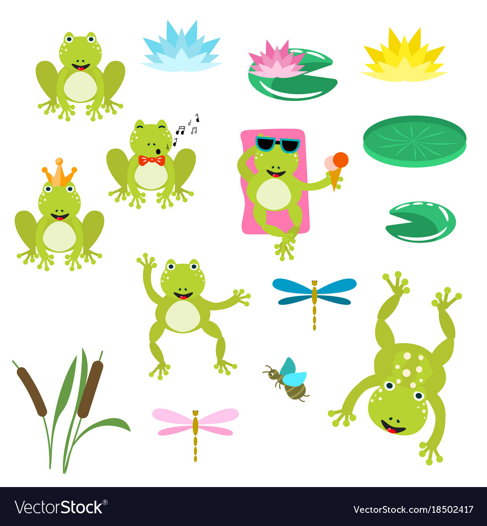 Frog cartoon clipart clip art black and white download Frogs cartoon clipart set clip art black and white download