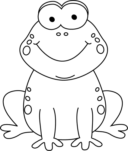 Frog clipart easy banner transparent download Black and White Cartoon Frog Clip Art | march classroom ideas ... banner transparent download