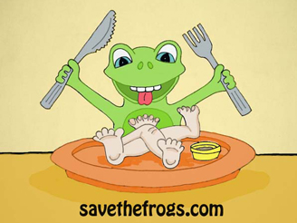Frog food cliparts banner stock The Problem With Frog Legs banner stock