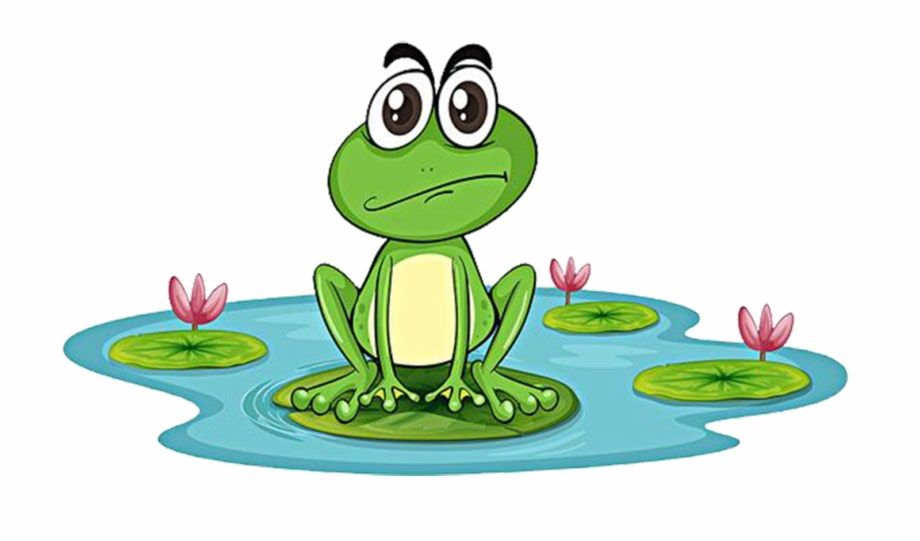 Frog in pond clipart