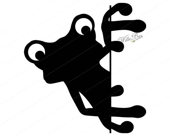 Frog peeking clipart clip black and white library Peeking Frog SVG Clipart, Tailless Amphibians, Peeking Frog, Toad ... clip black and white library