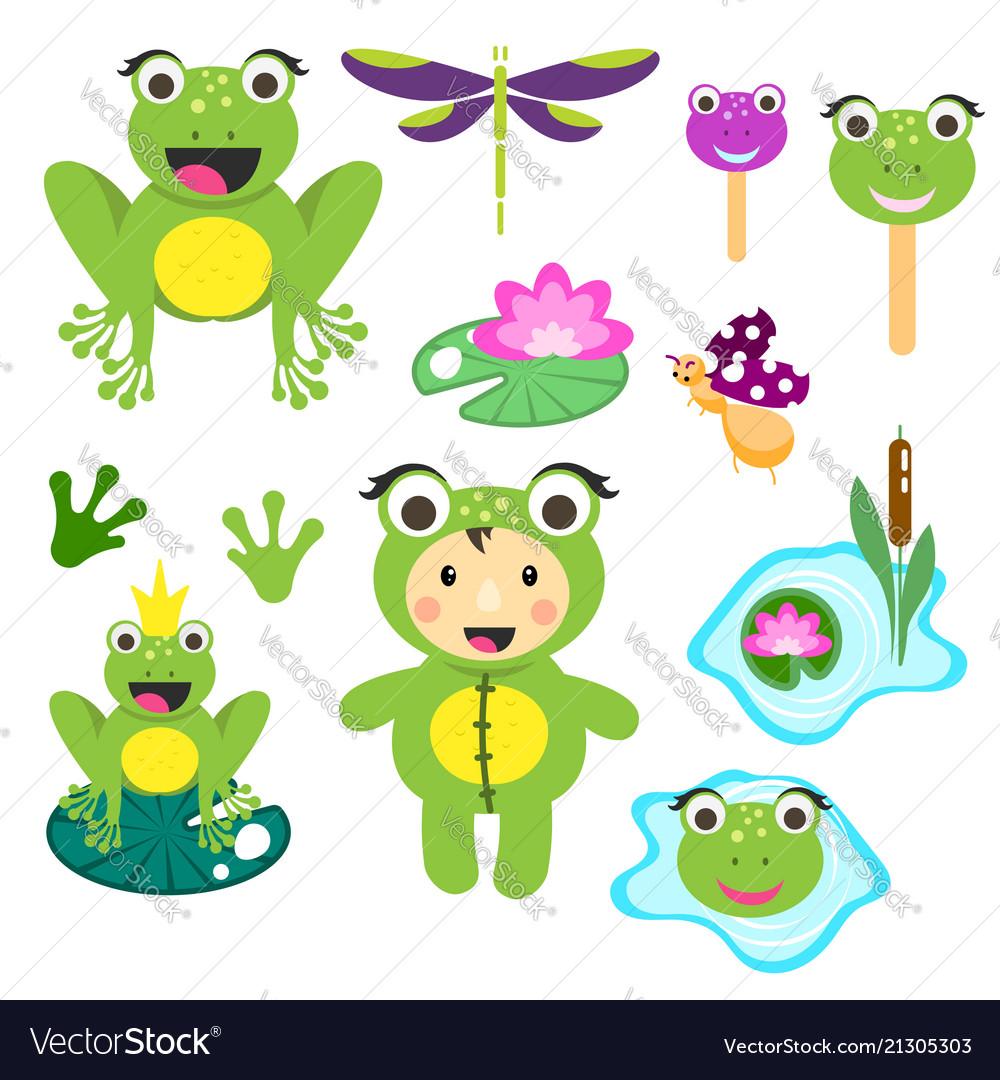 Frog vector clipart clip art transparent download Cute cartoon frog clipart set funny frogs clip art transparent download