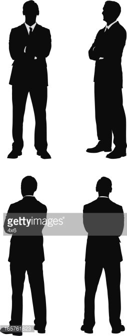 Front and back clipart svg royalty free Businessman Silhouette Front Back Side Views premium clipart ... svg royalty free