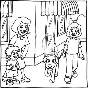 Front clipart for kids black and white picture library A Black and White Cartoon of a People Walking In Front of City Shops ... picture library