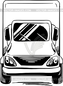 Front of van clipart clipart freeuse library Service or delivery van - truck front - white & black vector clipart clipart freeuse library