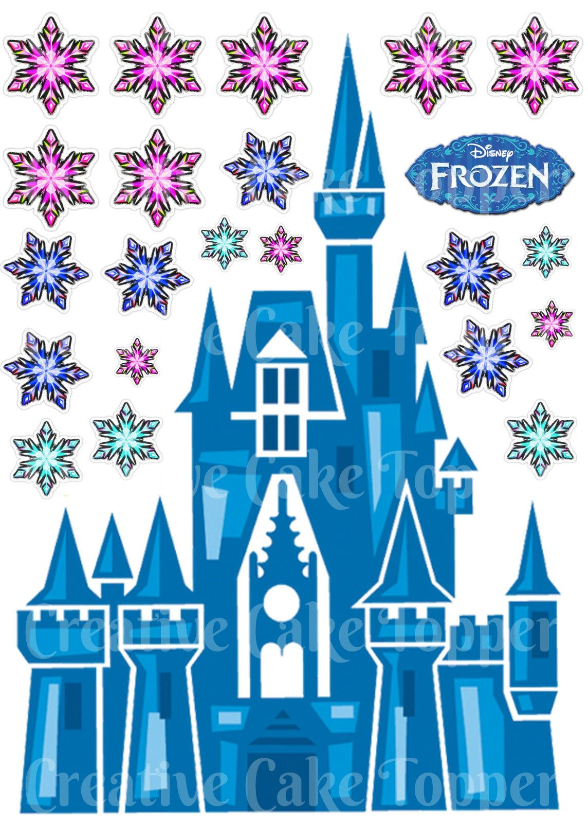 Frozen castle clipart image black and white stock Details about Edible Disney FROZEN CASTLE Princess Snowflake Stand ... image black and white stock