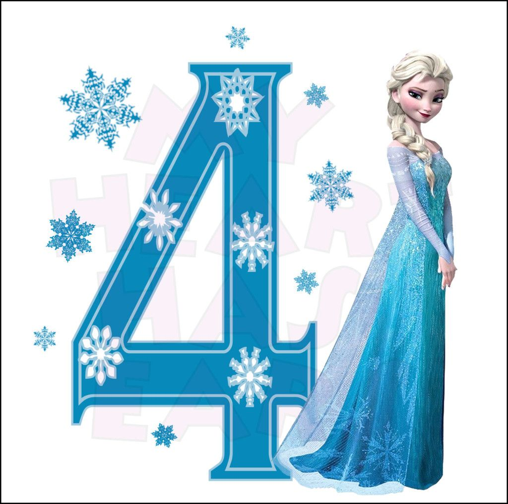 Frozen themed cliparts banner transparent download Disney\'s Frozen Elsa Birthday with number 4 INSTANT DOWNLOAD digital ... banner transparent download