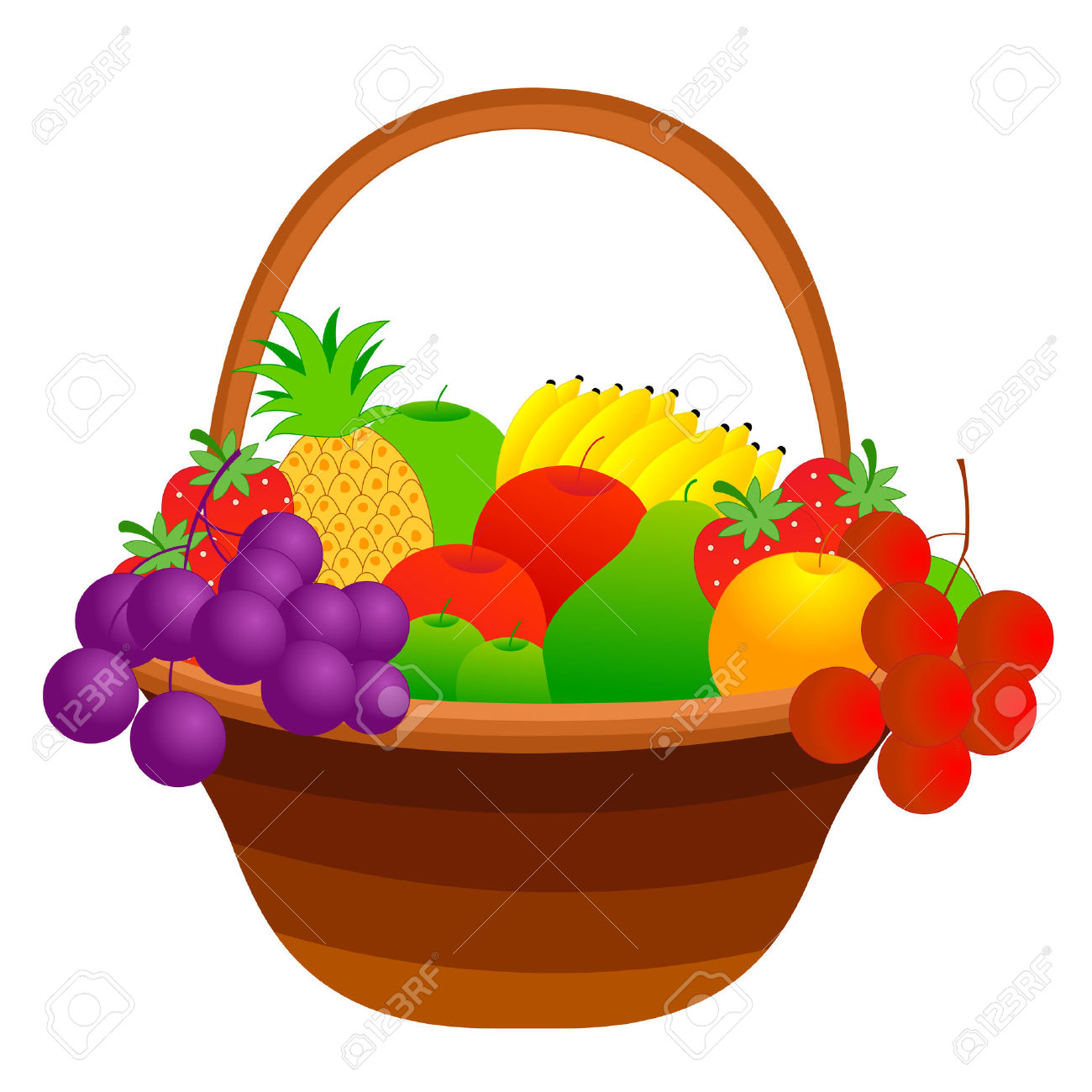 Fruitbasket clipart jpg black and white download Fruit Baskets Clipart | Free download best Fruit Baskets Clipart on ... jpg black and white download