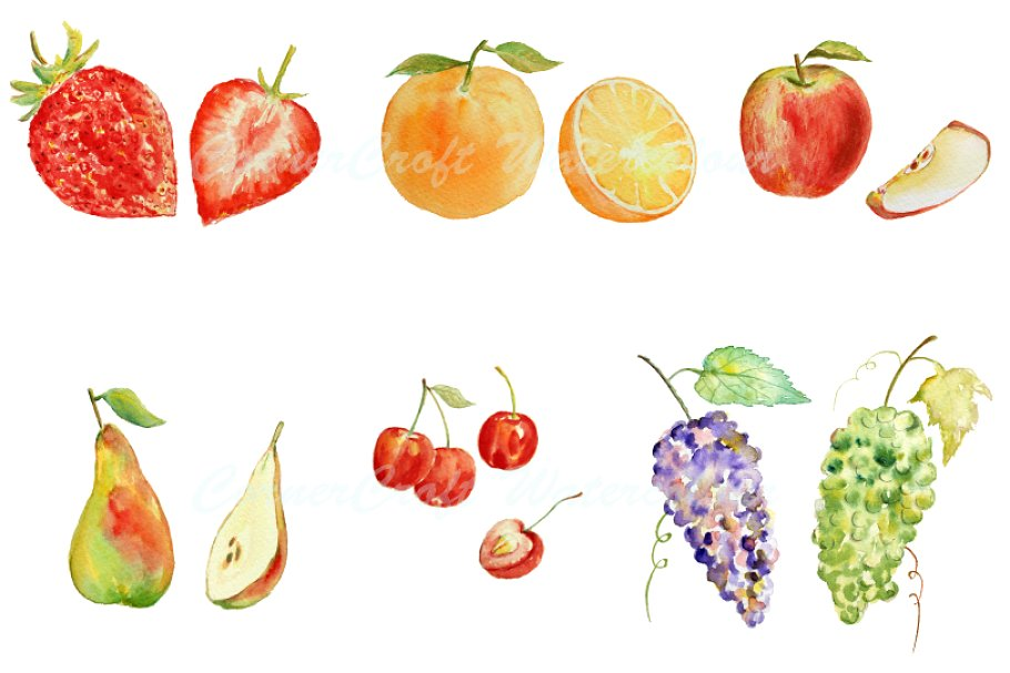 Watercolor fruit clipart clip black and white Watercolor Fruit Clipart - Set 1 clip black and white
