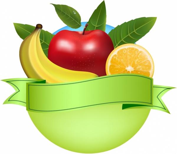 Fruit logo clipart image library library Fresh fruit banner Free vector in Adobe Illustrator ai ( .AI ... image library library
