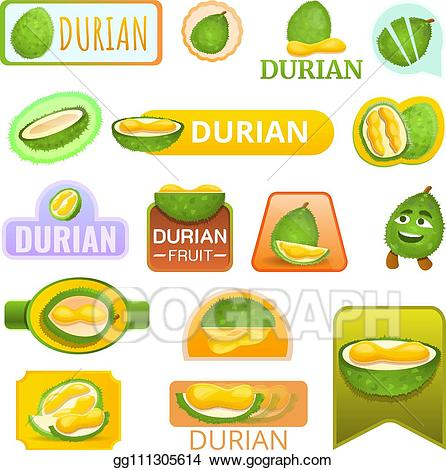 Fruit logo clipart black and white library Vector Clipart - Durian fruit logo set, cartoon style. Vector ... black and white library
