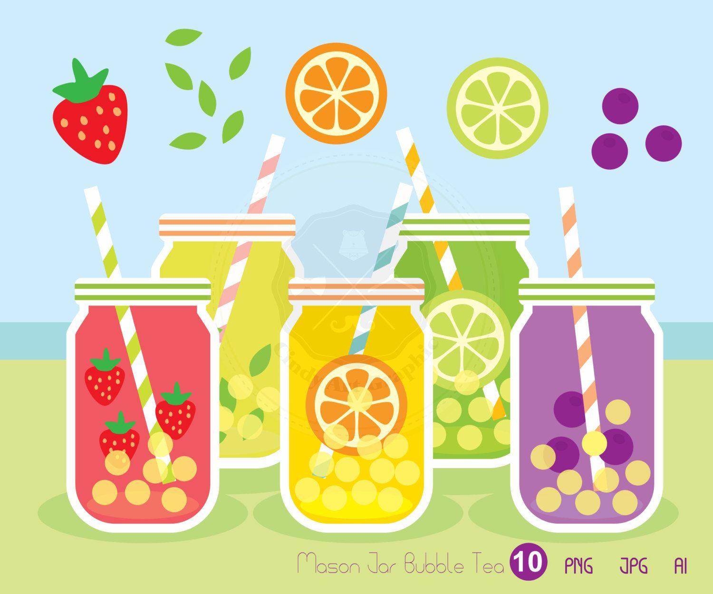 Fruit milk tea clipart clipart black and white download Mason Jar Bubble Tea Clip Art,mason jar clipart,scrapbook vector ... clipart black and white download