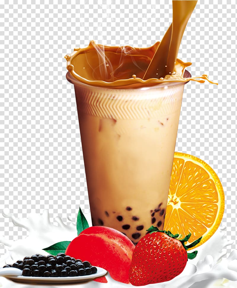 Fruit milk tea clipart image free stock Clear drinking glass and fruits , Hong Kong-style milk tea Bubble ... image free stock
