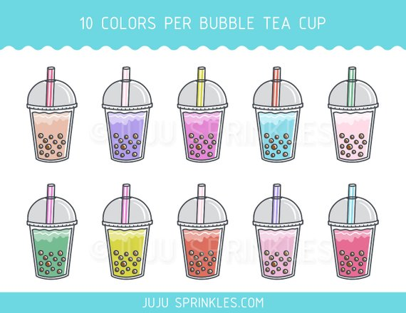 Fruit milk tea clipart jpg stock Bubble Tea Clipart, Boba Tea Clipart, Bubble Tea Planner Sticker ... jpg stock