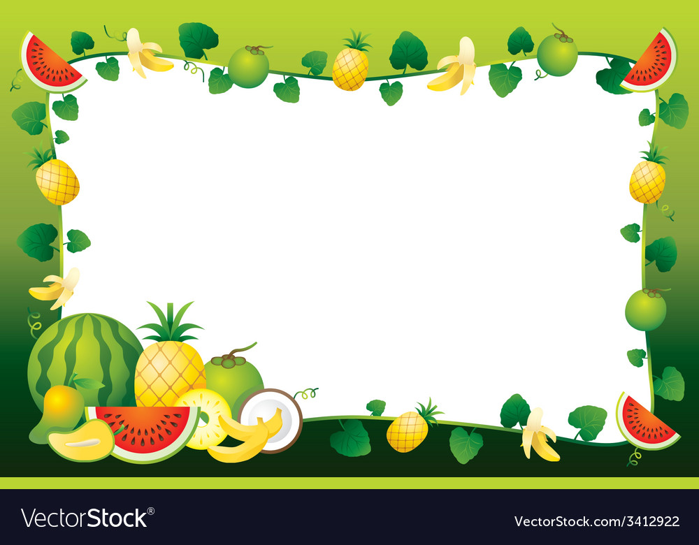 Tropical fruit border clipart free black and white download Mixed Fruits Border Frame black and white download