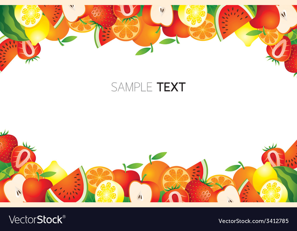 Fruit page border vector clipart png free stock Mixed Fruits Frame Border vector image png free stock
