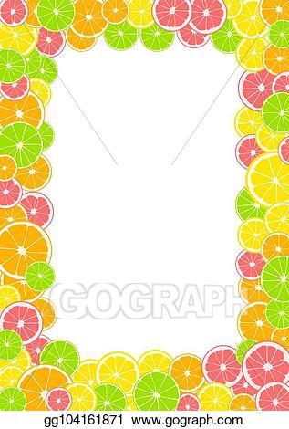 Fruit page border vector clipart jpg black and white library Vector Art - Citrus frame, border with space for text or photo ... jpg black and white library