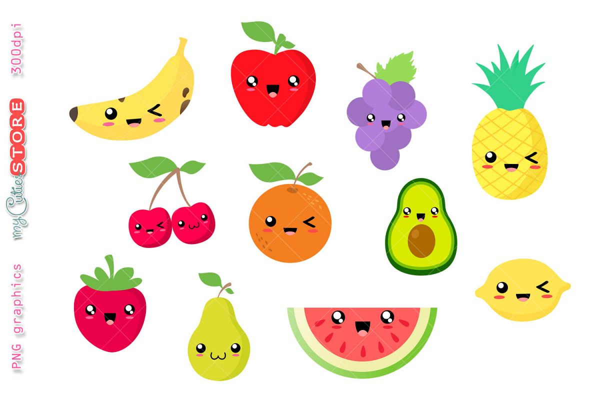 Fruits images clipart banner black and white stock Collection of kawaii fruits clipart. Watermelon, pinneapple. banner black and white stock