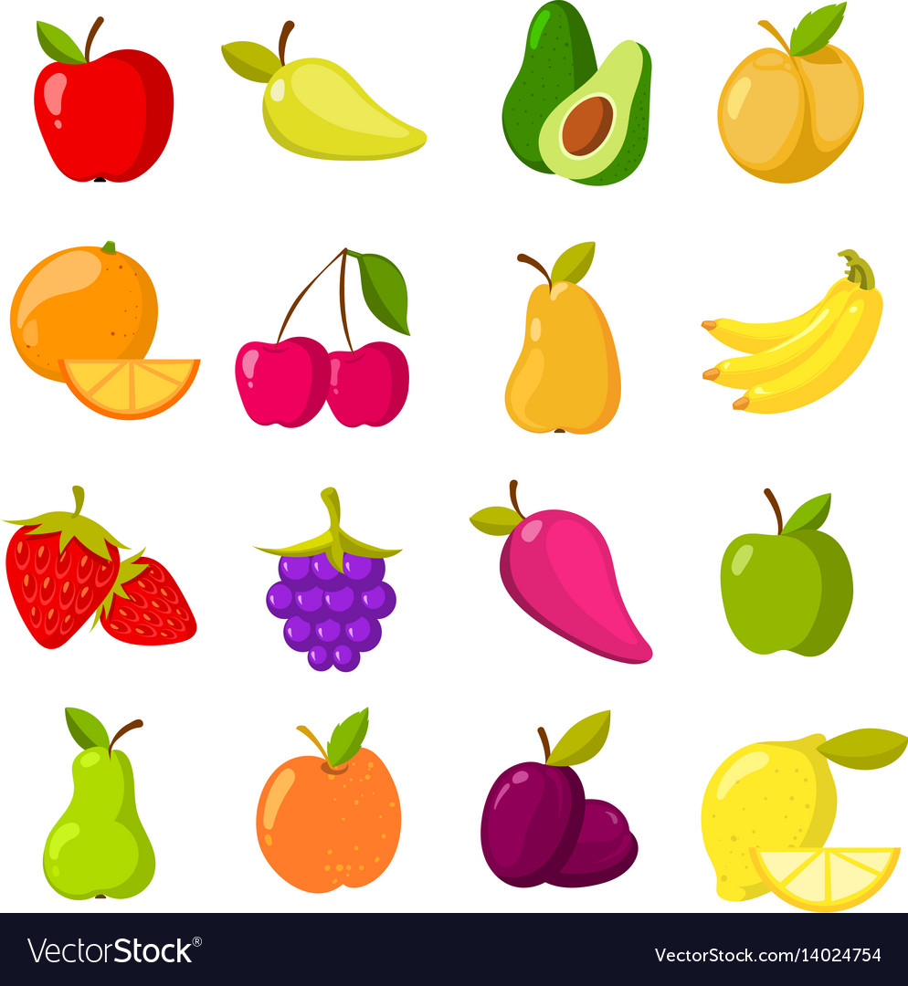 Fruits images clipart image free Cartoon fruits clipart collection isolated image free
