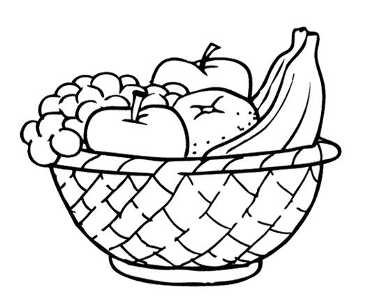 Fruits in bag clipart black and white image freeuse stock Food Basket Drawing at PaintingValley.com | Explore collection of ... image freeuse stock