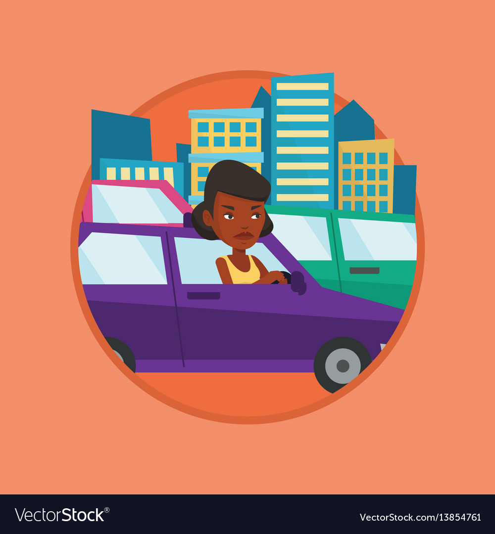 Frustrated in a car sit kid clipart clip art royalty free library Angry african woman in car stuck in traffic jam vector image clip art royalty free library