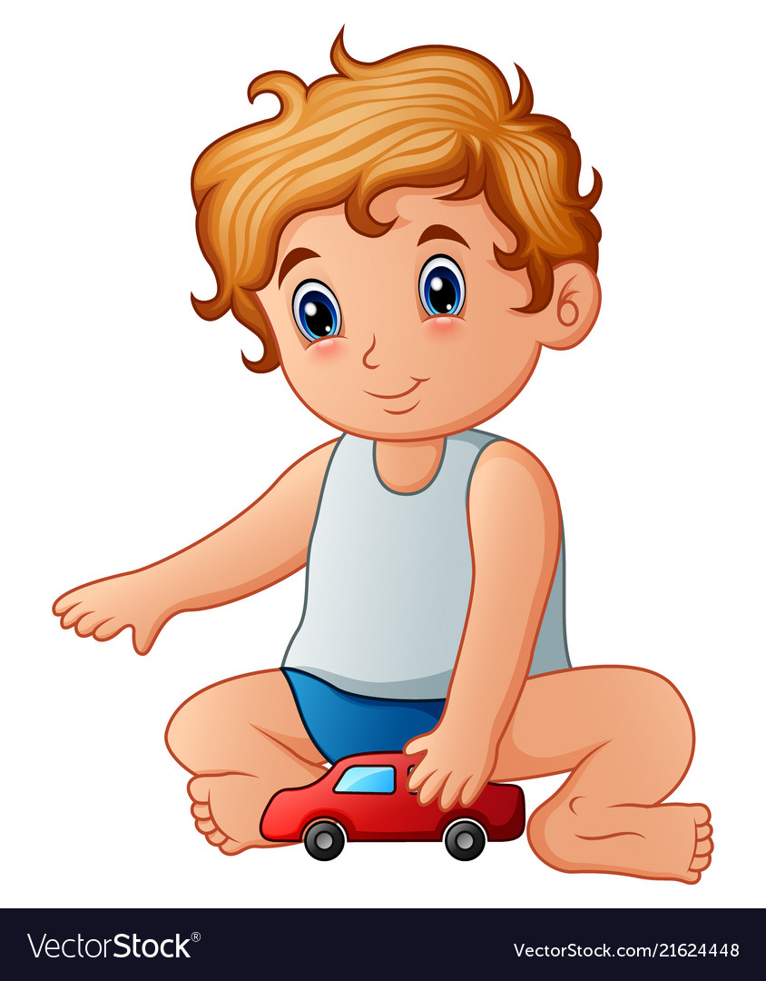 Frustrated in a car sit kid clipart royalty free Little boy playing toy car vector image royalty free