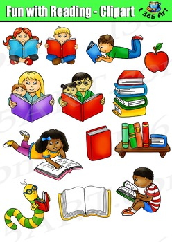 Fun for kids clipart clipart stock Reading Clipart Set, Reading Fun Kids clipart stock