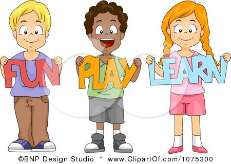 Fun for kids clipart graphic free Clipart Cute Diverse School Children Holding Fun Play Learn Paper ... graphic free