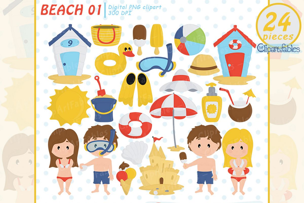 Kids at the beach clipart clip art library download Summer beach clipart, beach fun time, Kids at the Beach clip art library download