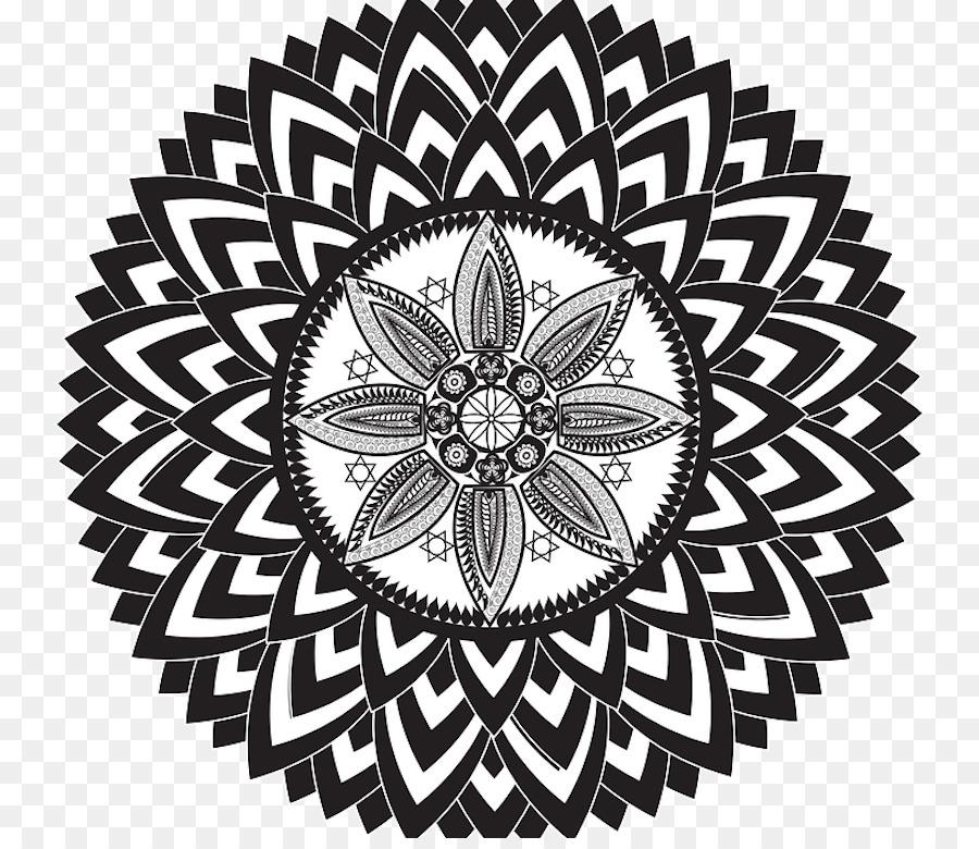 Fundo de tela clipart svg freeuse download Black And White Flower clipart - Mandala, Pattern, Circle ... svg freeuse download
