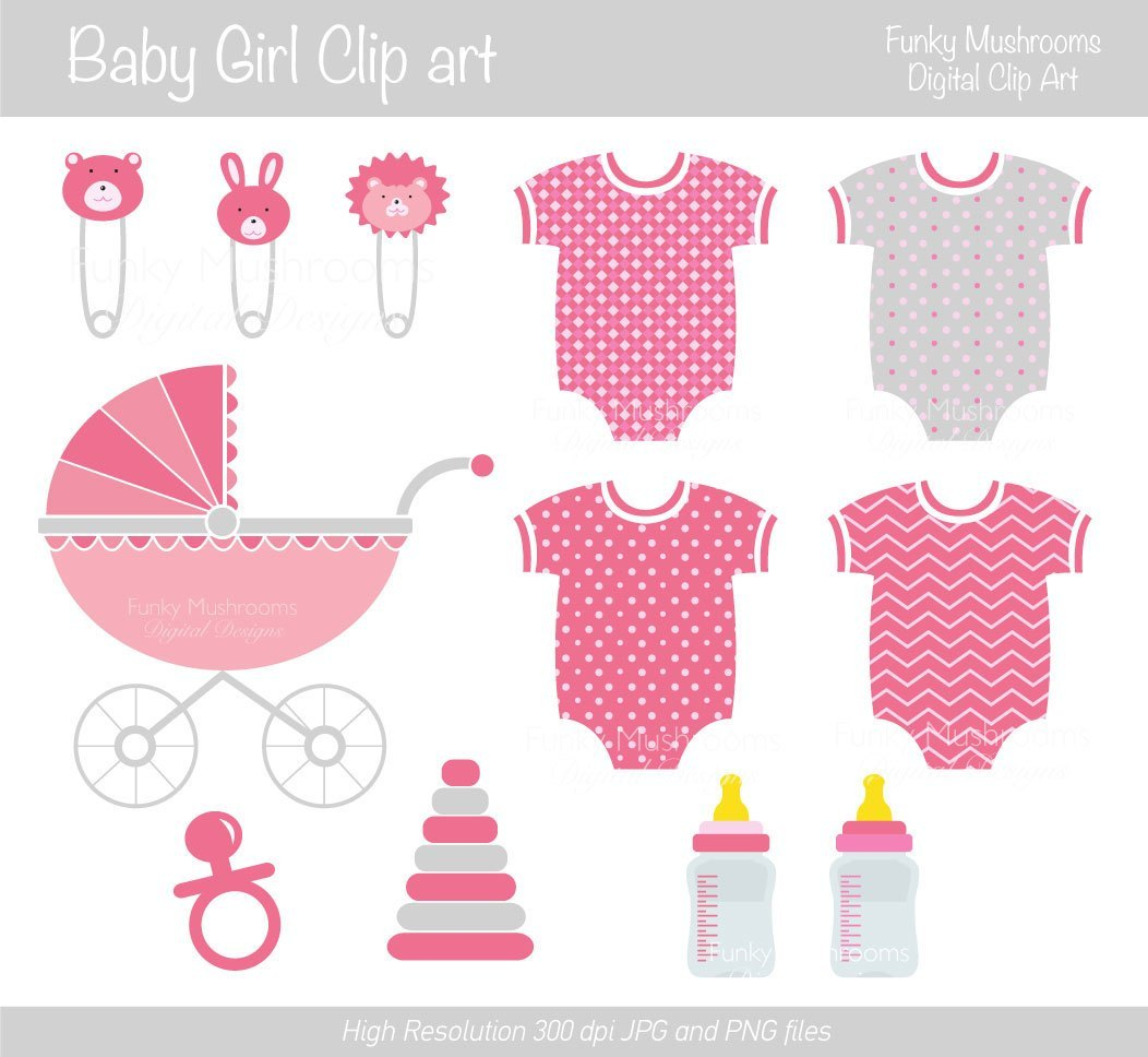 Funky mushrooms digital clipart vector freeuse library Digital Clipart Girls Baby Shower Onesie By Funky Mushrooms Vintage ... vector freeuse library