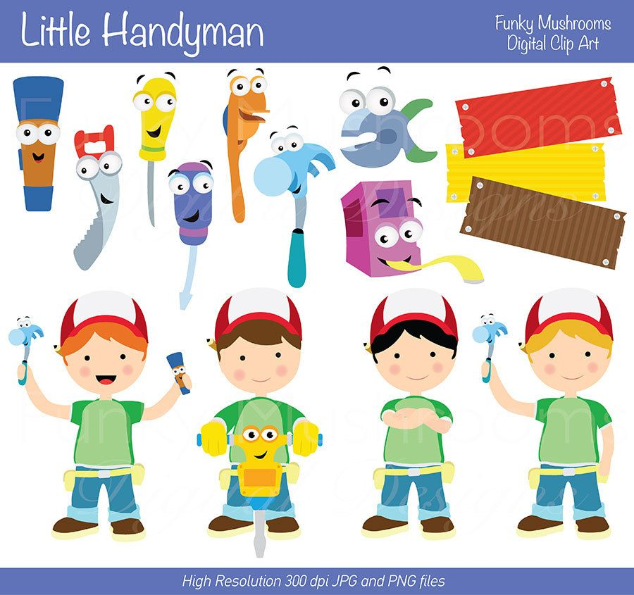 Funky mushrooms digital clipart jpg free library Digital Clipart Little handyman for by funkymushrooms on Etsy, €3.20 ... jpg free library