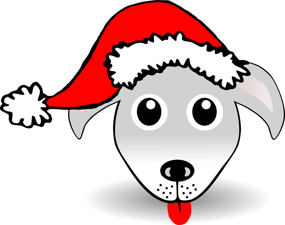 Happy dog face clipart png transparent OnlineLabels Clip Art - Funny Dog Face Grey Cartoon With Santa Claus Hat png transparent