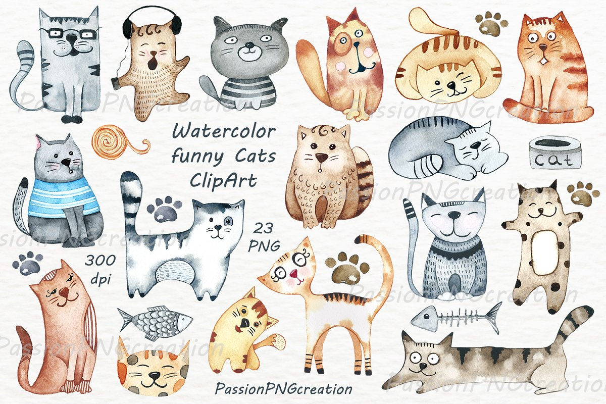 Funny cliparts of cat graphic free stock Watercolor funny Cats Clipart ~ Illustrations ~ Creative Market graphic free stock