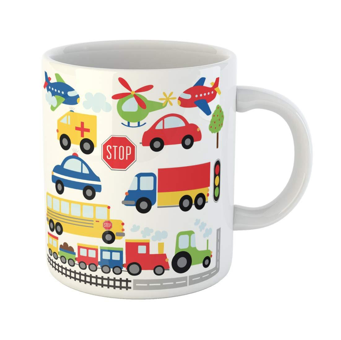 Funny coffee mug clipart transparent library Amazon.com: Semtomn Funny Coffee Mug Train Car Toy Plane Clipart ... transparent library
