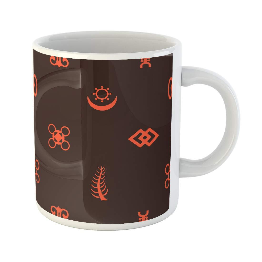 Funny coffee mug clipart jpg freeuse stock Amazon.com   Semtomn Funny Coffee Mug Africa Adinkra Symbols African ... jpg freeuse stock