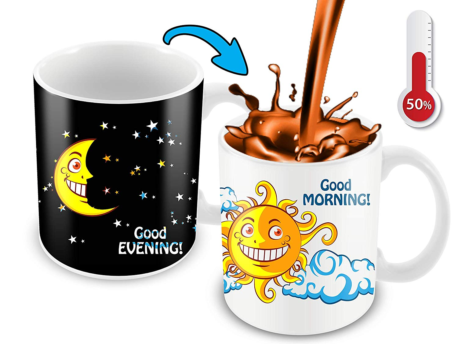 Funny coffee mug clipart clip royalty free library Heat Sensitive Color Changing Coffee Mug   Funny Coffee Cup   Night/Day,  Moon/Sun Design   Funny Gift Idea clip royalty free library
