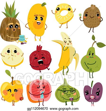Funny fruit clipart free download Vector Clipart - Cute fruits. fruit funny characters, pineapple kiwi ... free download