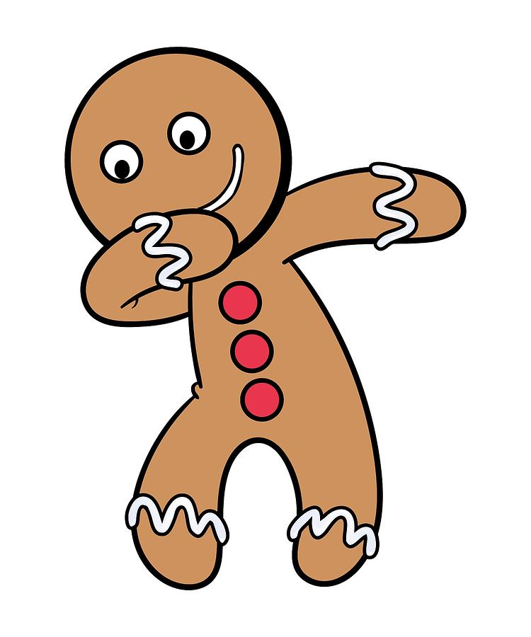 Funny gingerbread man on cookie sheet clipart clipart transparent stock Fun Dabbing Gingerbread Man Christmas Cookie For The Holiday Season clipart transparent stock