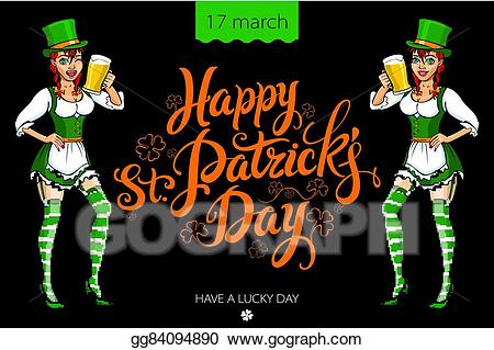 Funny irish pictures clipart jpg transparent Vector Illustration - Funny irish girl holding a beer. happy st ... jpg transparent